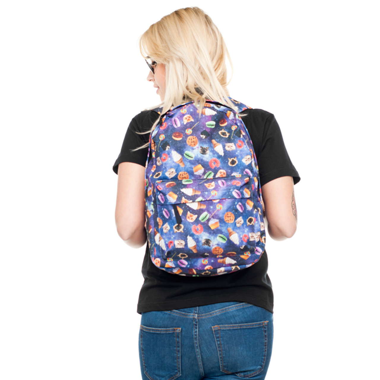 Image of model wearing Galaxy Kitty Cats and Treats Graphic Print Backpack