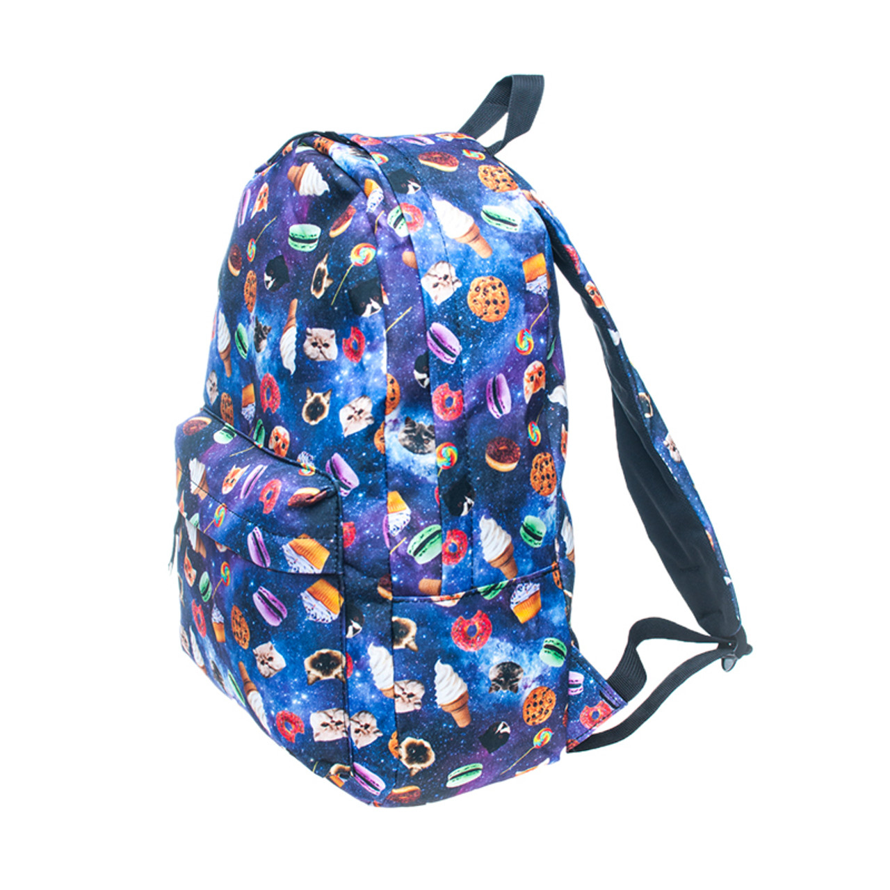 Left side of Galaxy Kitty Cats and Treats Graphic Print Backpack