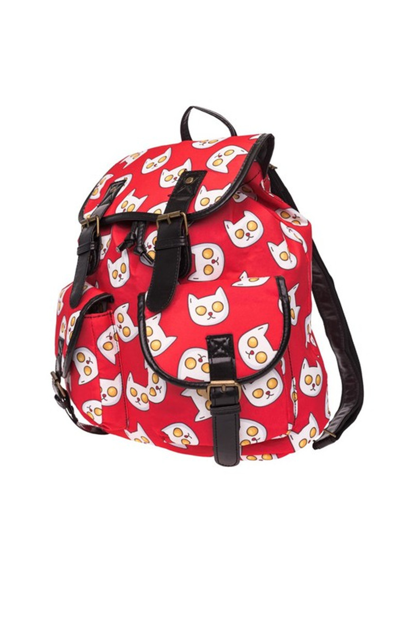 45 degree view of Sunny Side Up Kitty Cat Graphic Print Buckle Flap Backpack