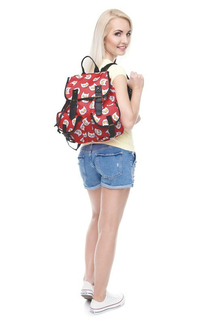 Image of model wearing Sunny Side Up Kitty Cat Graphic Print Buckle Flap Backpack