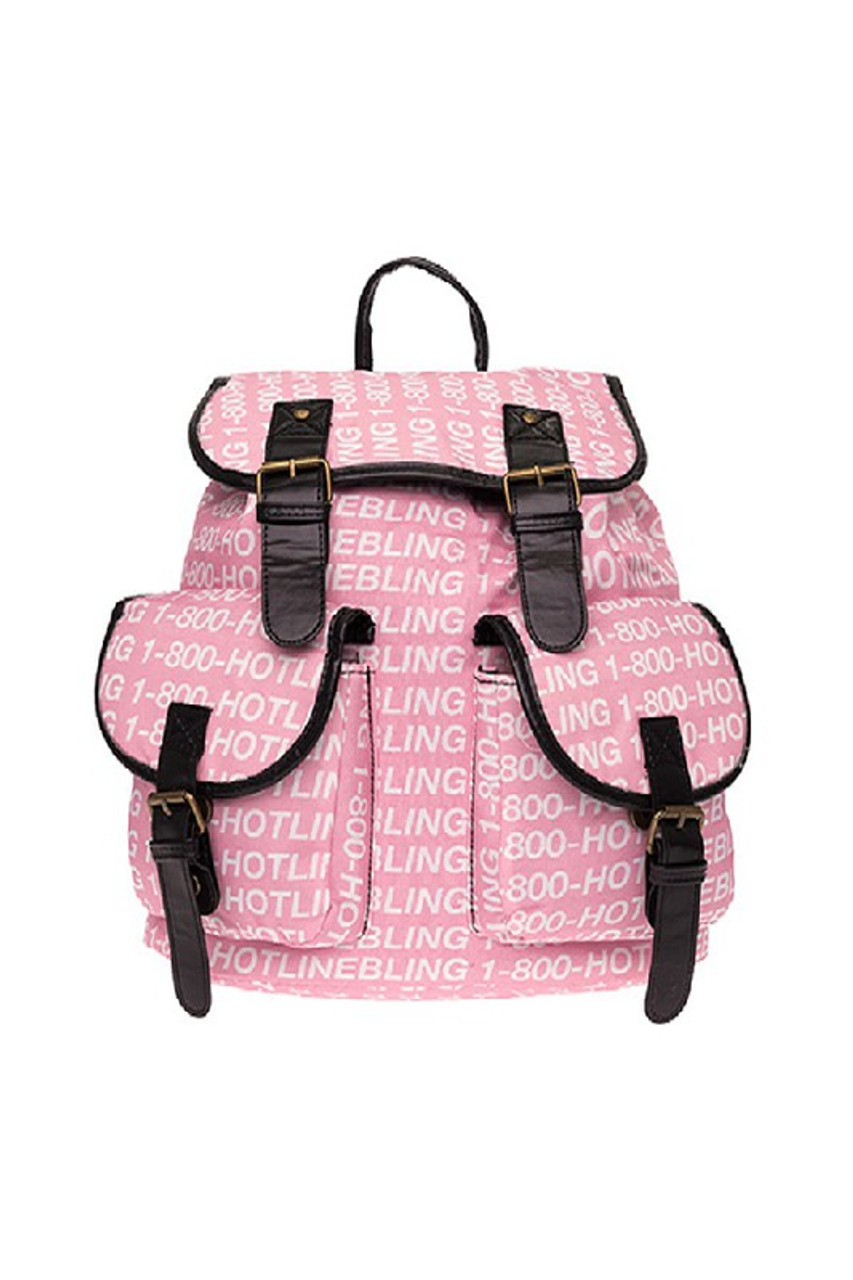 Front of Hotline Bling Graphic Print Buckle Flap Backpack with a pink and white text-based design