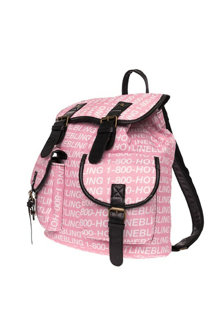 45 degree view of Hotline Bling Graphic Print Buckle Flap Backpack