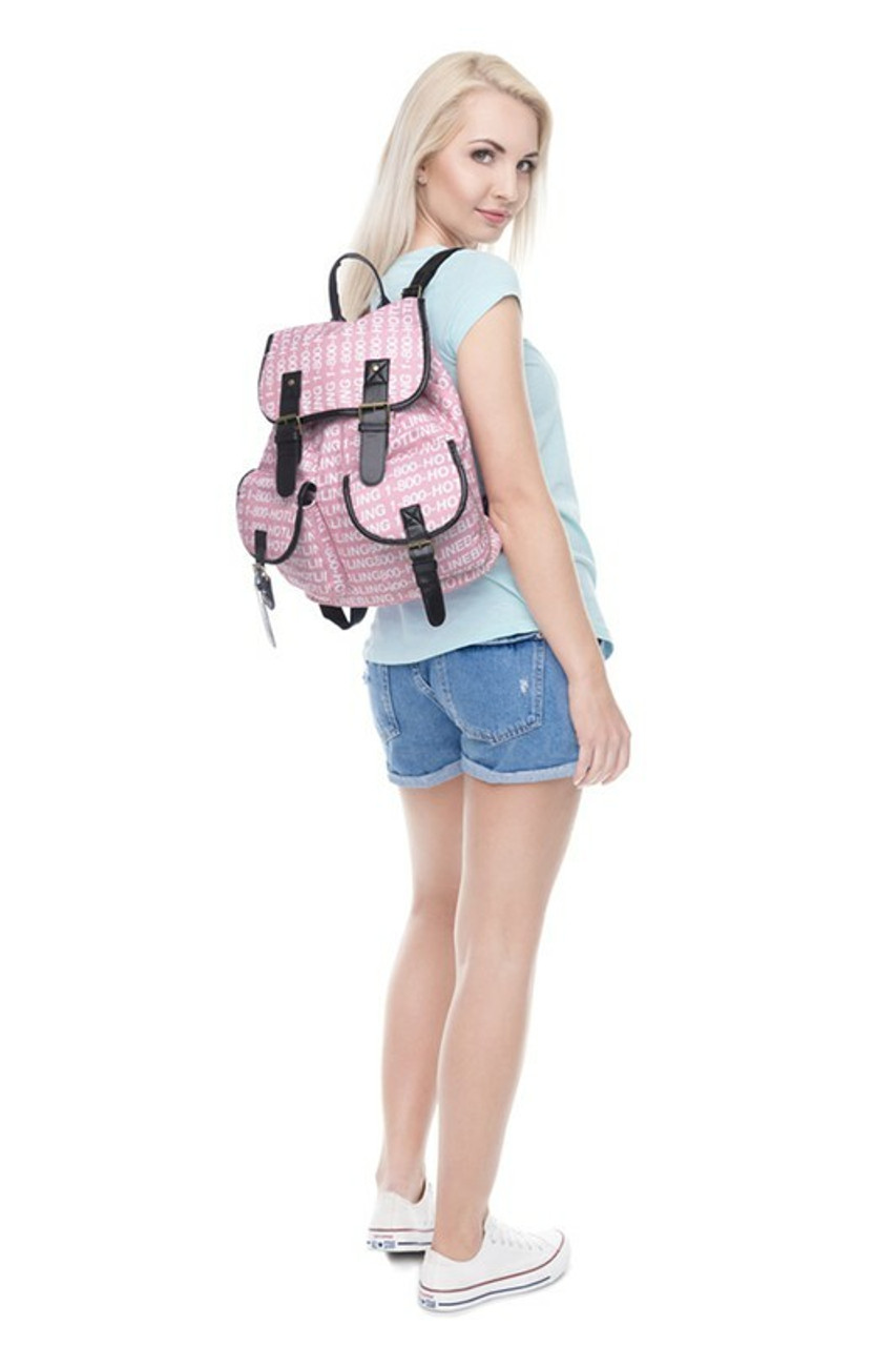 Image of model wearing Hotline Bling Graphic Print Buckle Flap Backpack