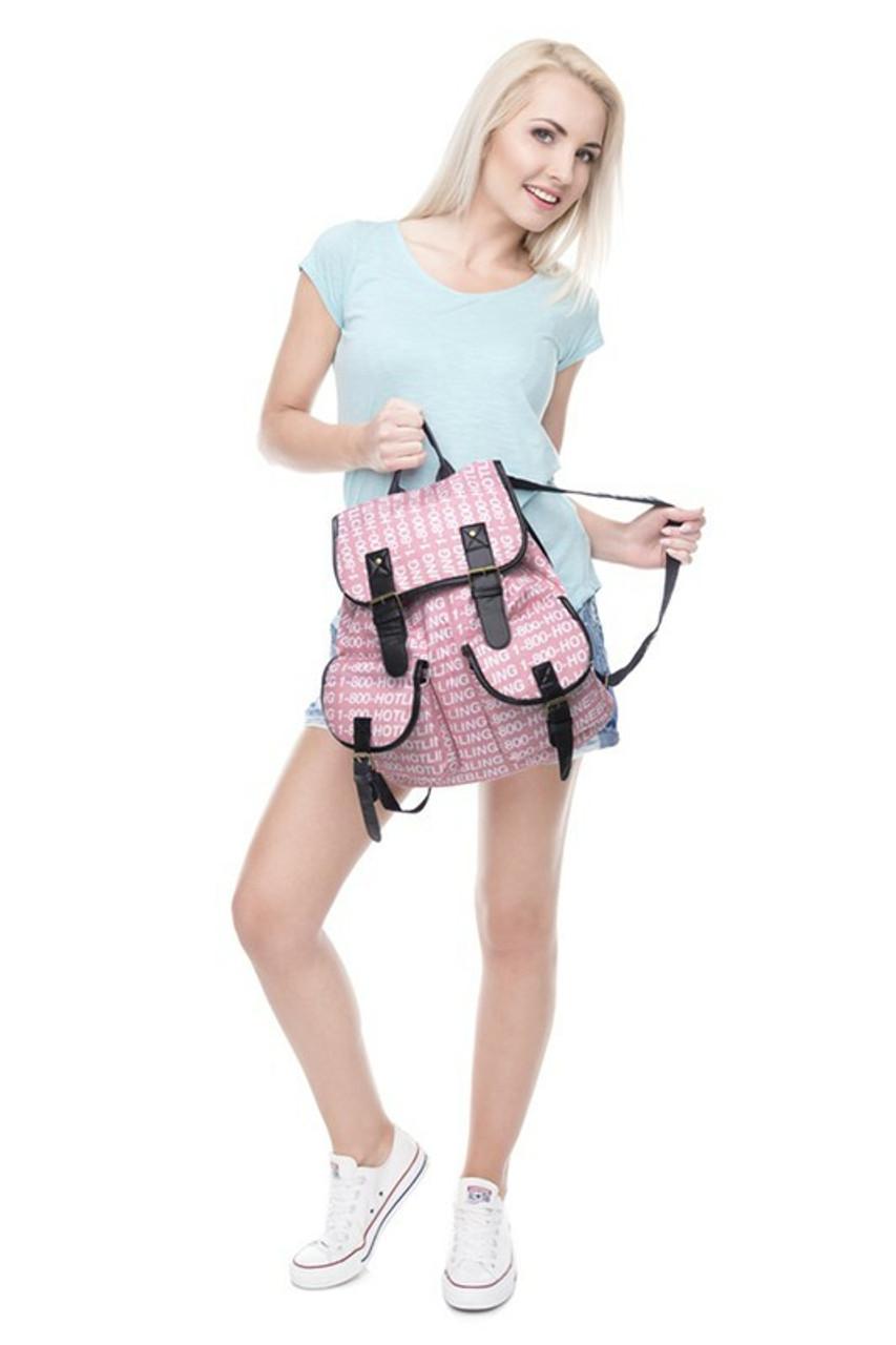 Model holding Hotline Bling Graphic Print Buckle Flap Backpack