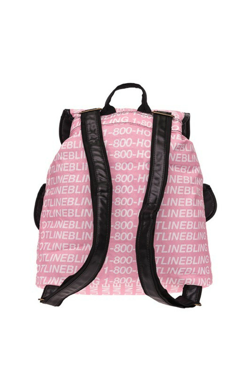 Back view of Hotline Bling Graphic Print Buckle Flap Backpack with adjustable srtaps