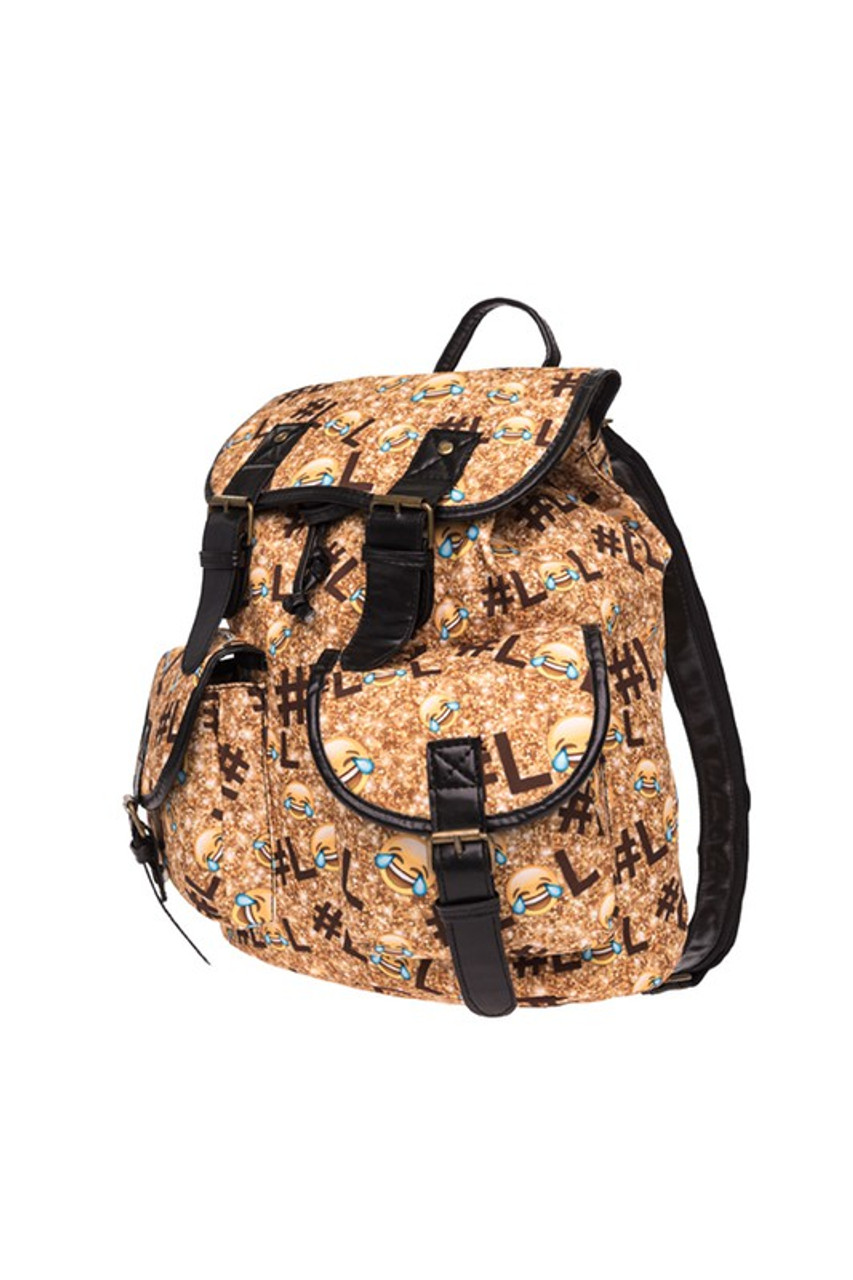 45 degree view of LOL Emoji Sparkle Graphic Print Buckle Flap Backpack
