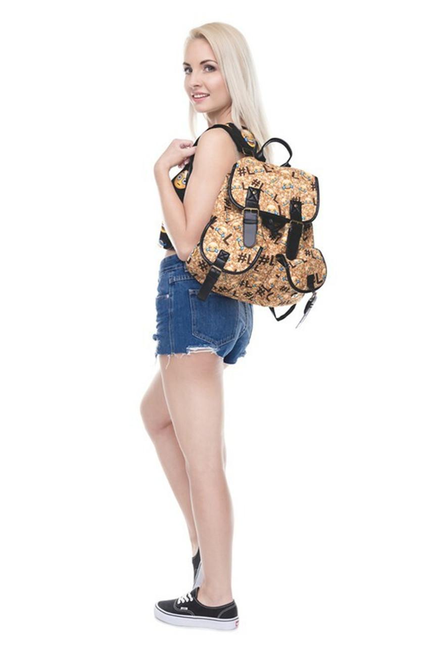 Image of model wearing LOL Emoji Sparkle Graphic Print Buckle Flap Backpack