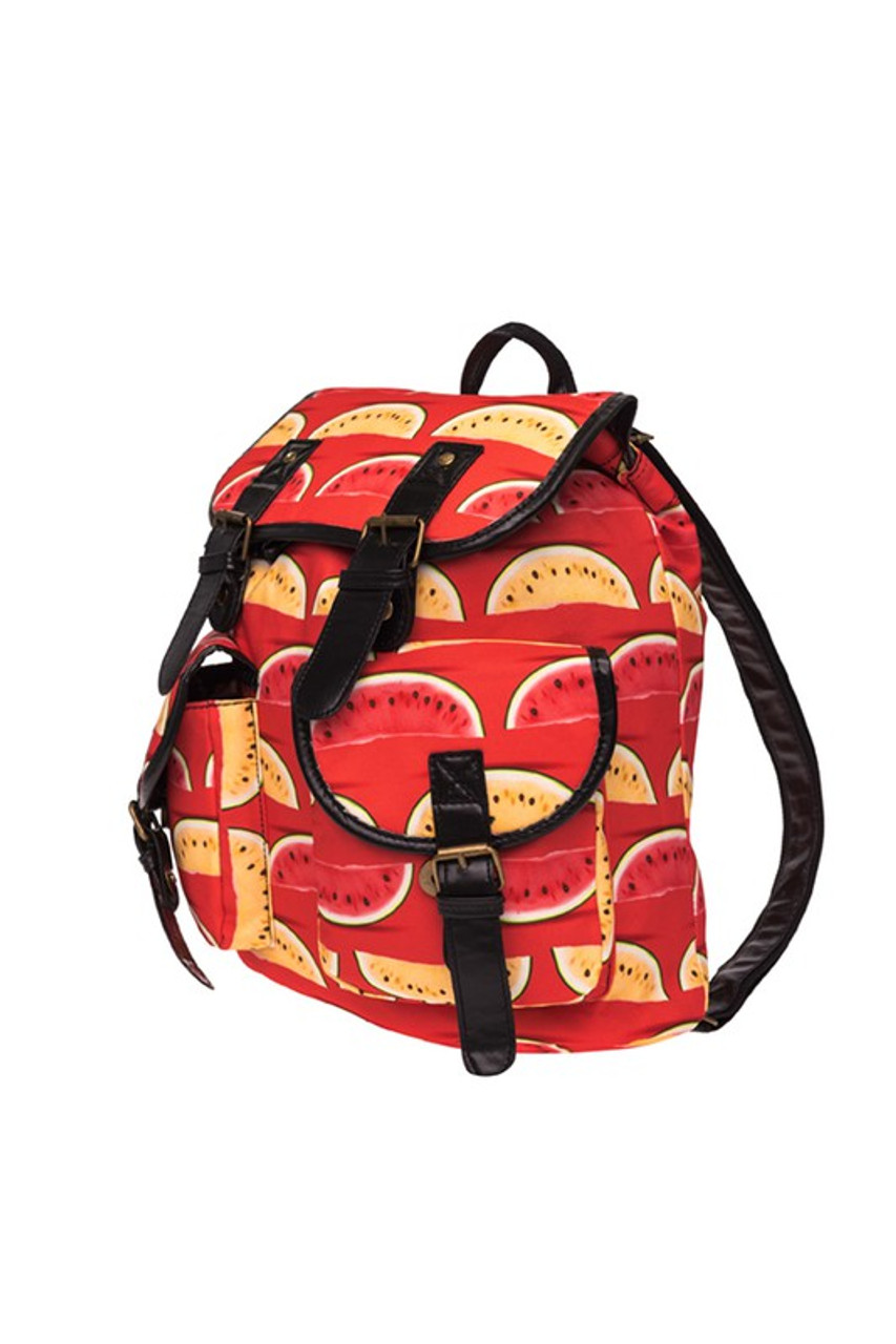 45 degree view of Red and Yellow Watermelon Graphic Print Buckle Flap Backpack