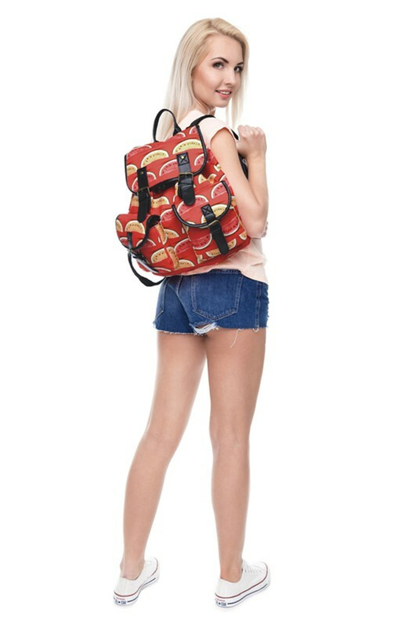 Image of model wearing Red and Yellow Watermelon Graphic Print Buckle Flap Backpack