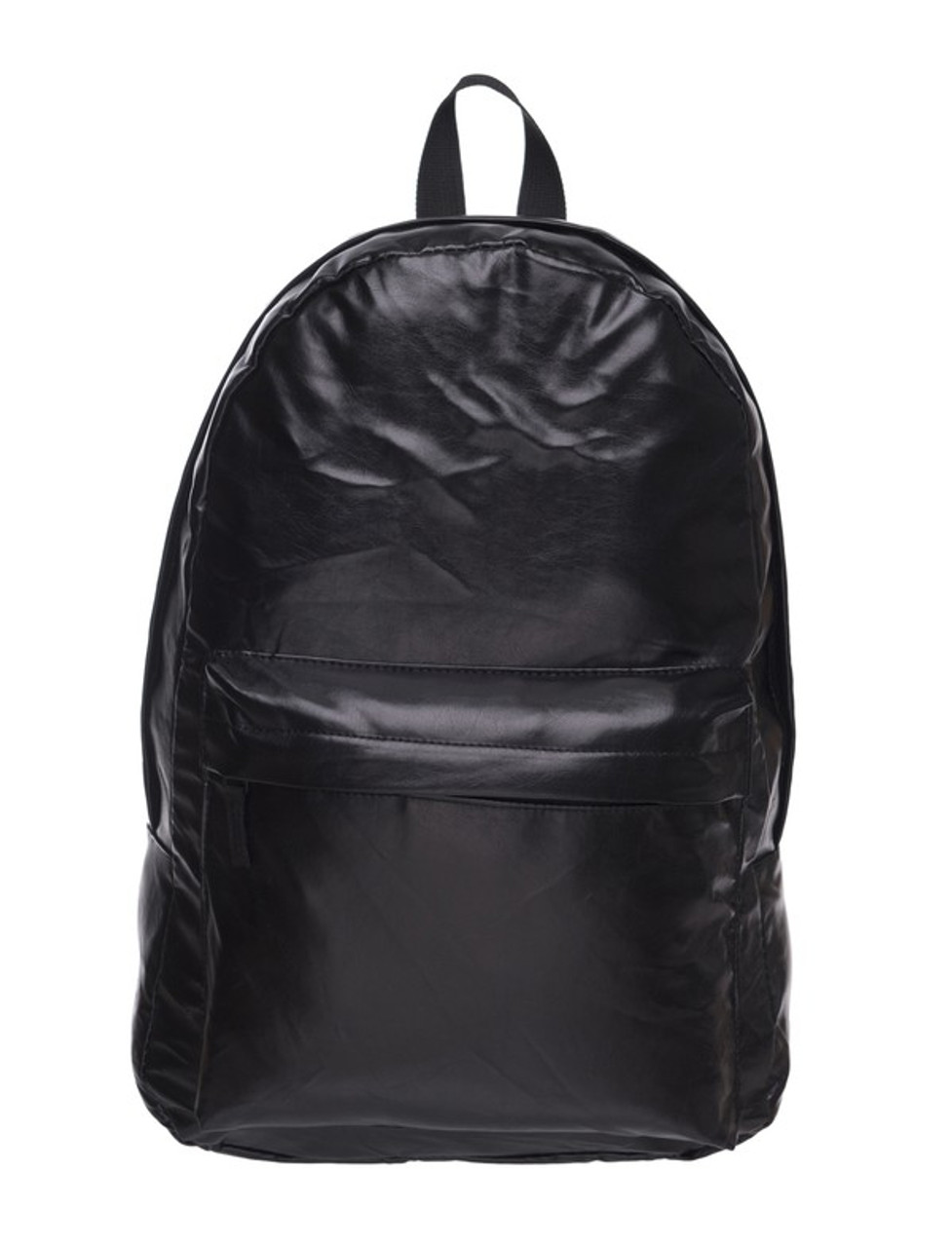 Front of Black Faux Leather Backpack with a large and small zipper compartment