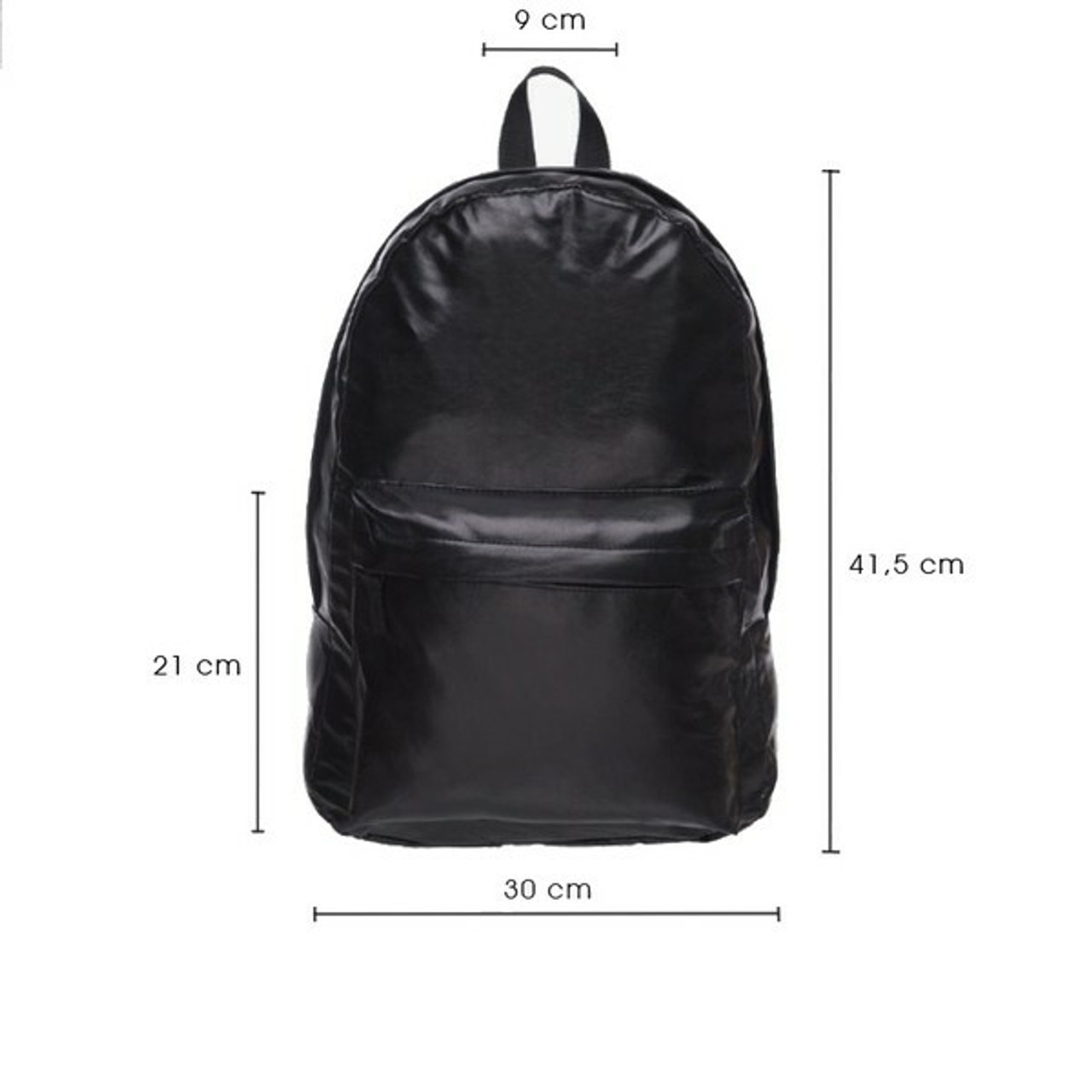 Black Faux Leather Backpack shown with dimensions