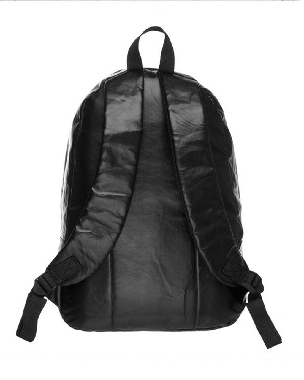 Back side of Black Faux Leather Backpack with a large and small zipper compartment
