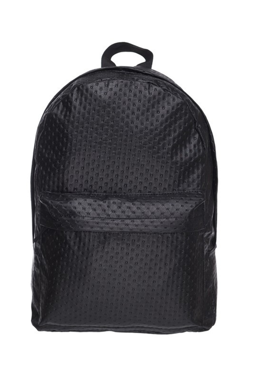 Front of Black Perforated Faux Leather Backpack with an all over dotted material design