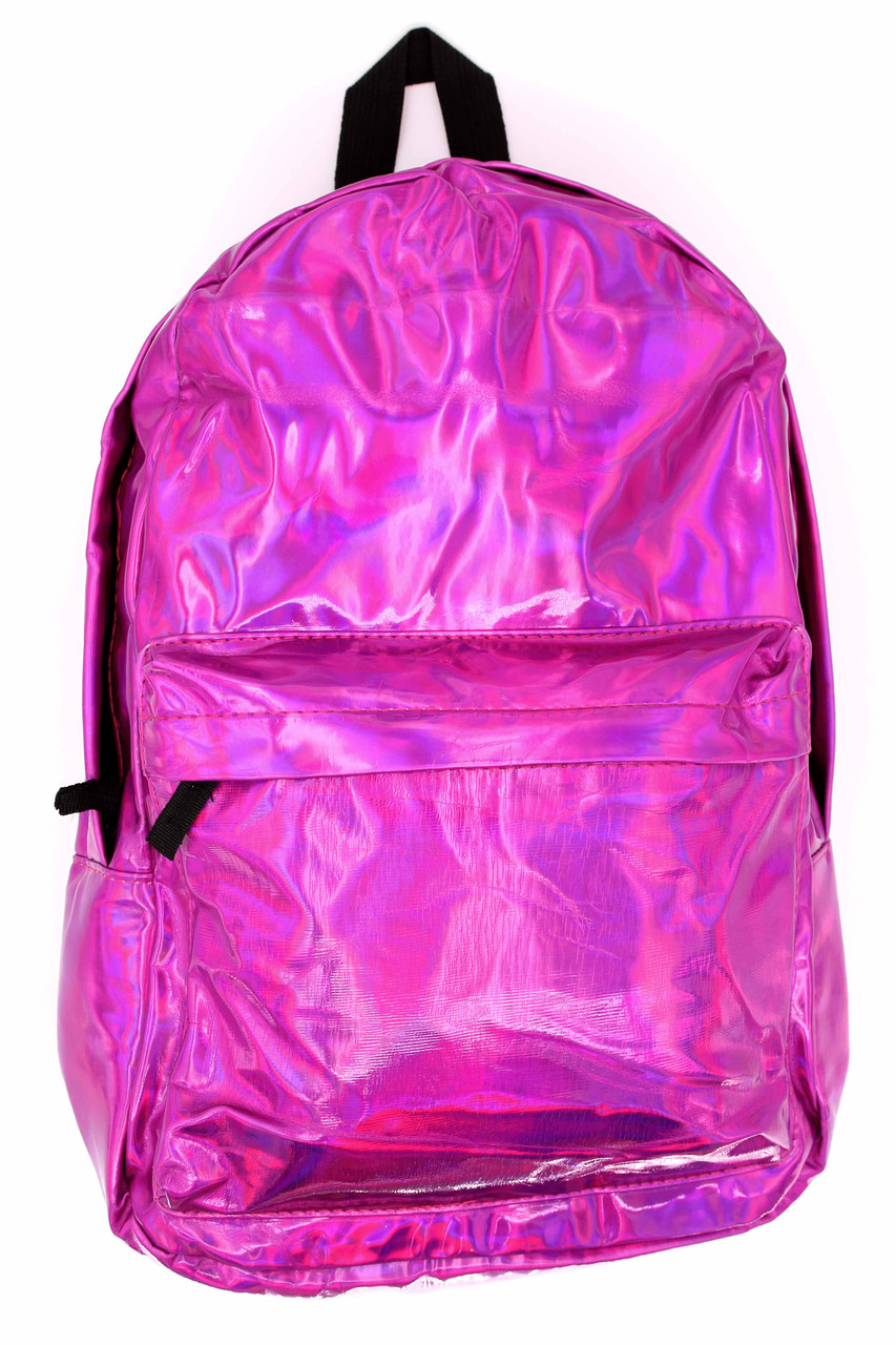 Front of Shiny Fuchsia Metallic Backpack with a smaller front zip compartment and a larger main zip up section
