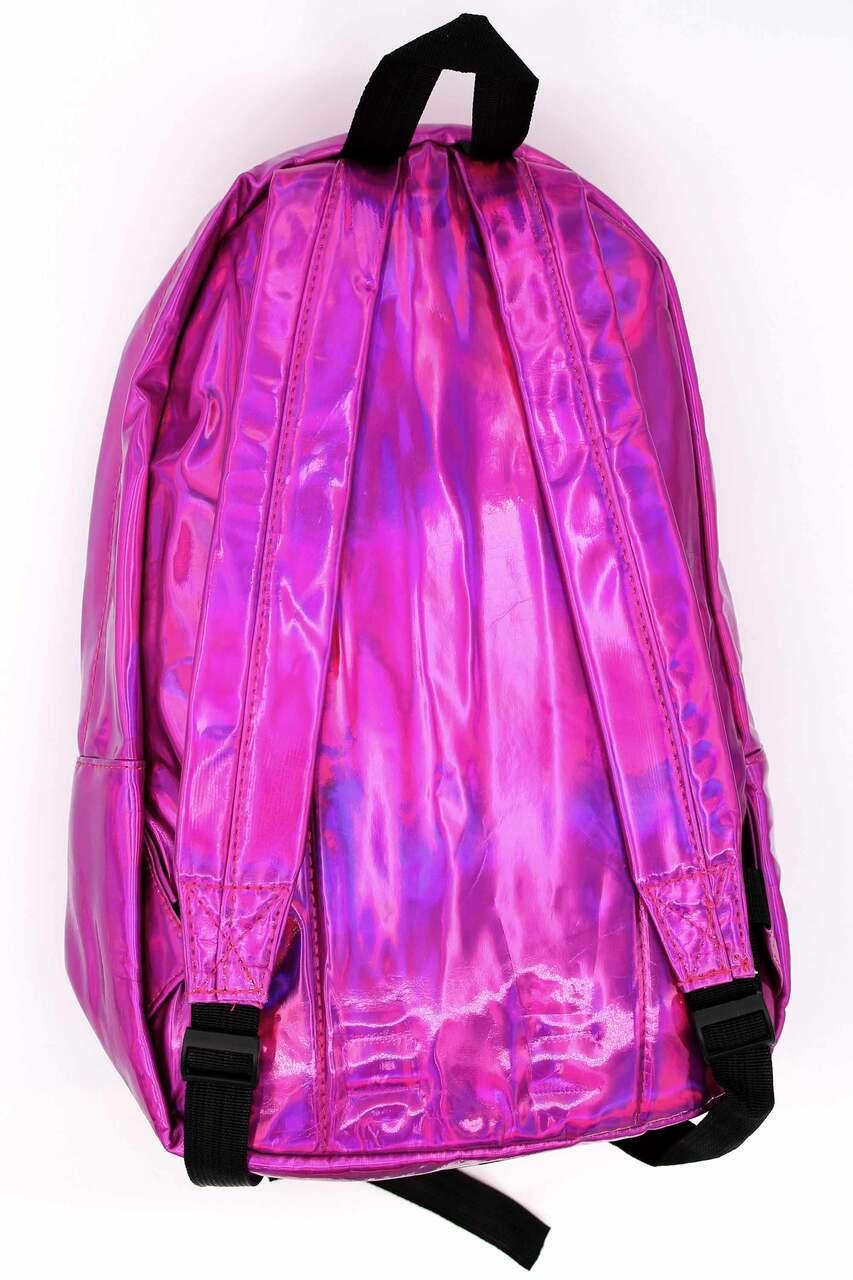 Back of Shiny Fuchsia Metallic Backpack with adjustable straps