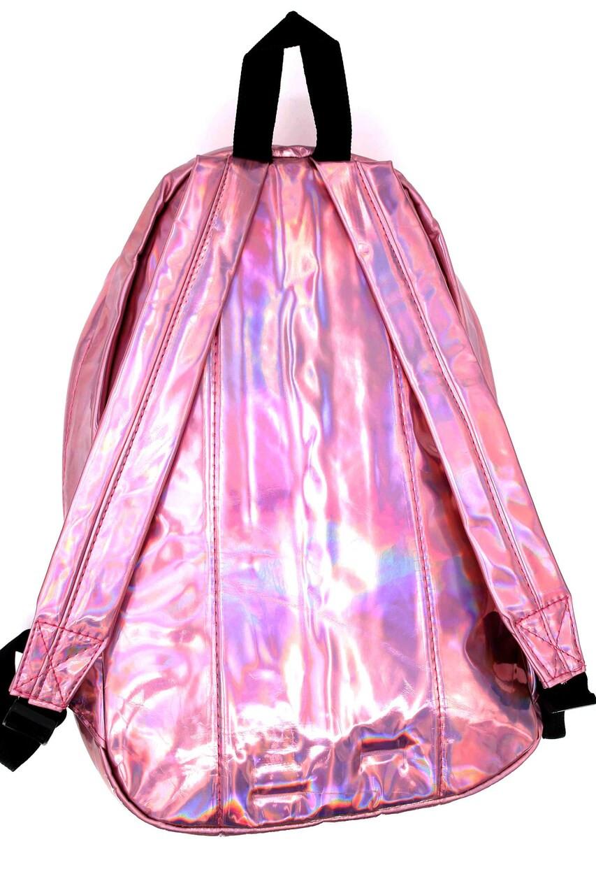 Back of Shiny Pink Metallic Backpack with adjustable straps