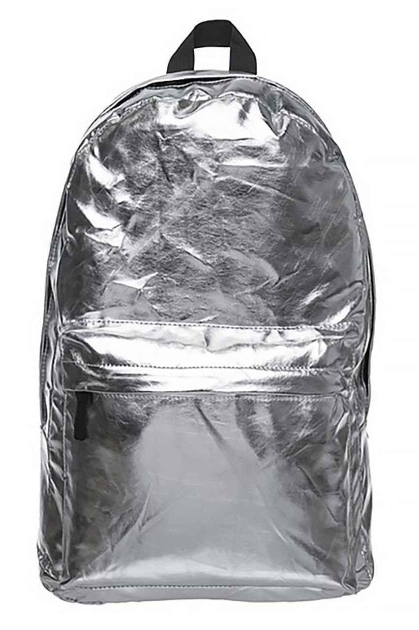 Front of Shiny Silver Metallic Backpack with a small zip compartment and a large main zipper compartment