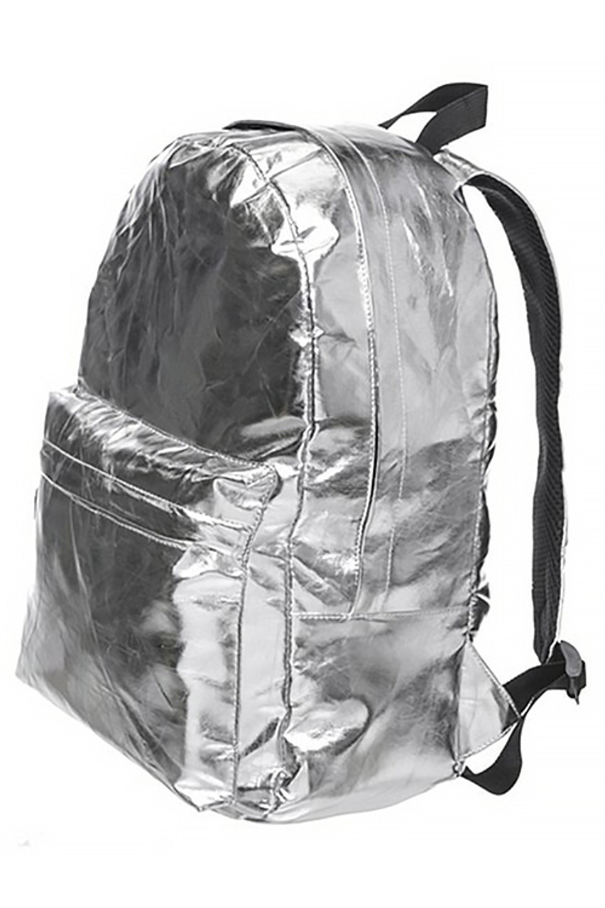 45 degree view of Shiny Silver Metallic Backpack