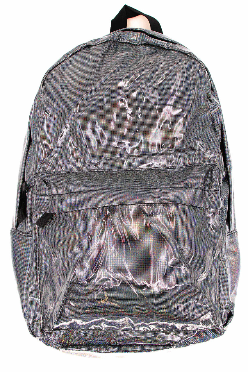 Front of Shiny Silver Rainbow Glitter Metallic Backpack with a small front zip compartment and a large zipper compartment