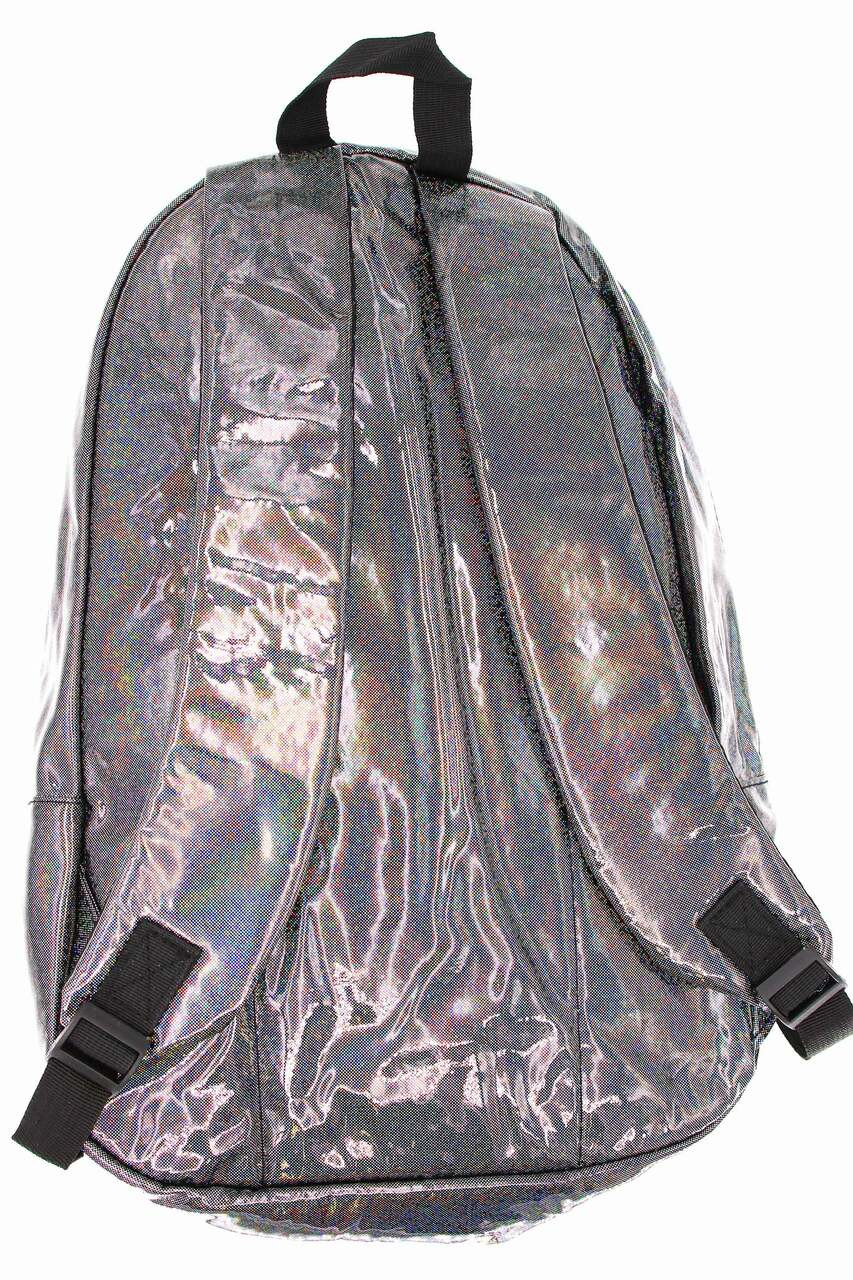 Back of Shiny Silver Rainbow Glitter Metallic Backpack with adjustable straps