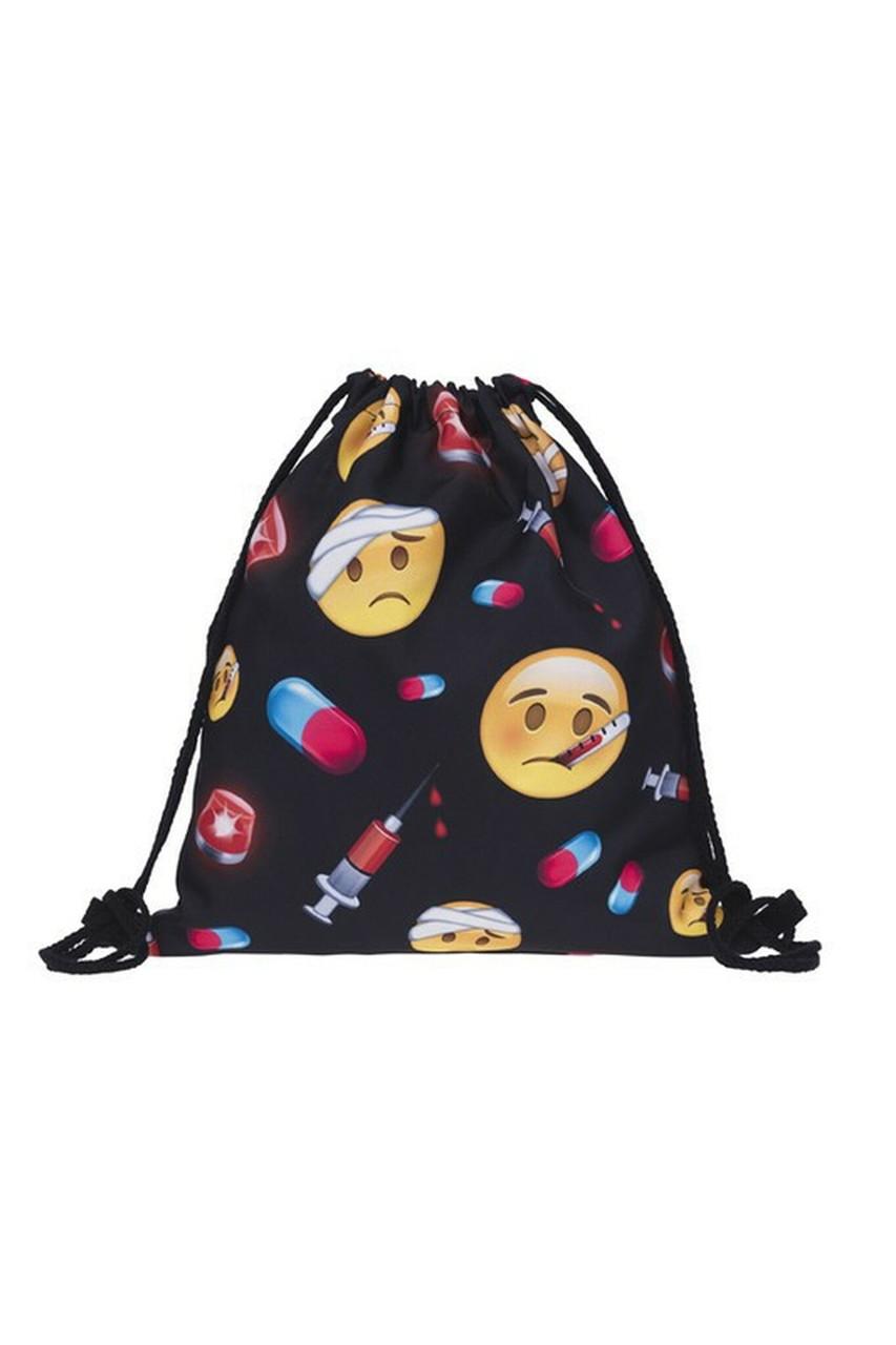 Emoji Hospital Graphic Print Drawstring Sack Backpack - 28 Styles