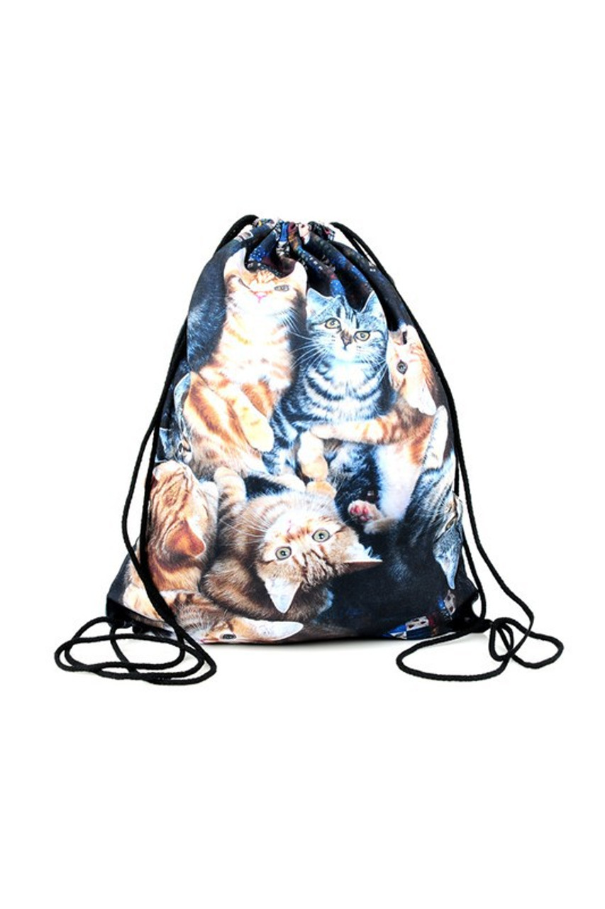 Kitty Cats - Large Print Graphic Print Drawstring Sack Backpack - 28 Styles