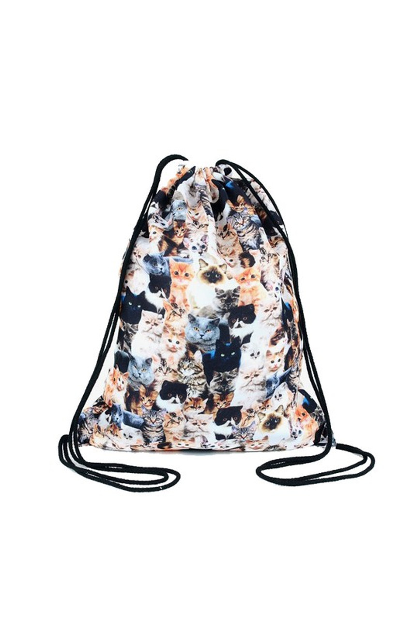 Kitty Cats - Small Print Graphic Print Drawstring Sack Backpack - 28 Styles