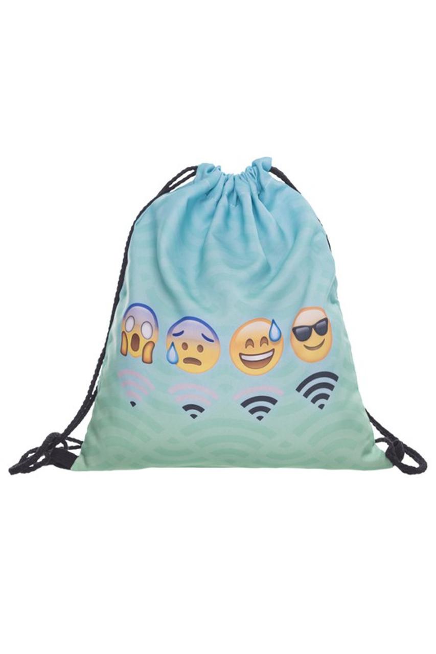 Emoji Wifi Moods Graphic Print Drawstring Sack Backpack - 28 Styles