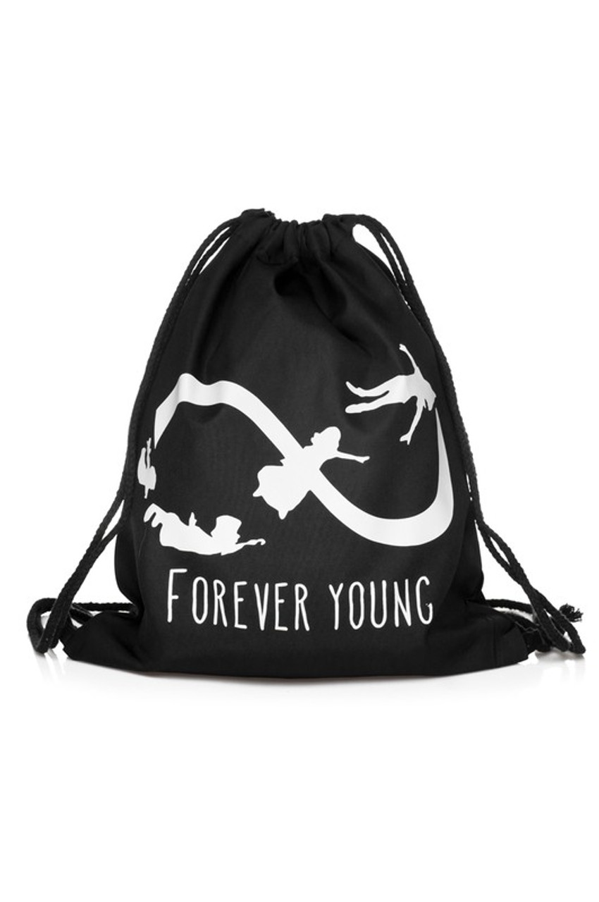 Forever Young Infinity Graphic Print Drawstring Sack Backpack - 28 Styles