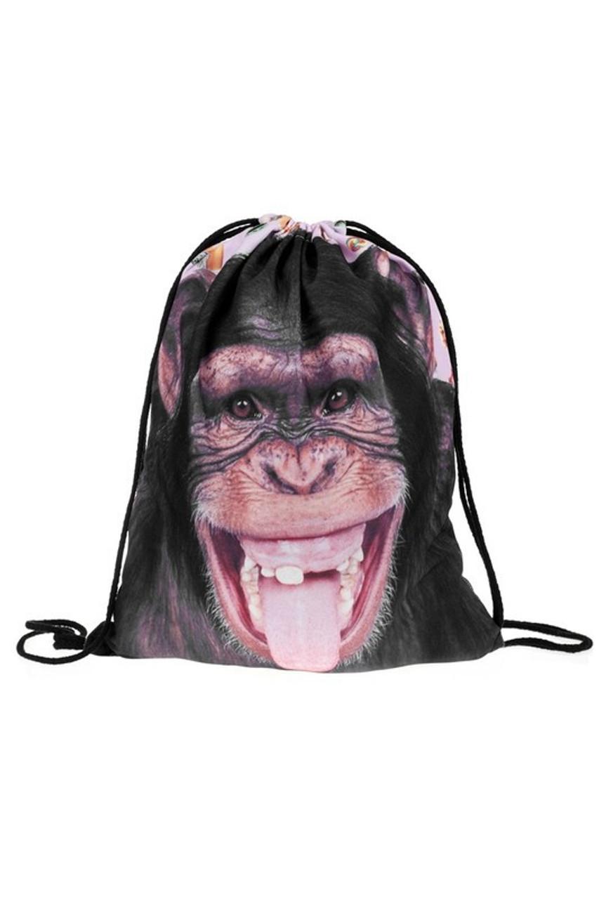 Monkey Graphic Print Drawstring Sack Backpack - 28 Styles