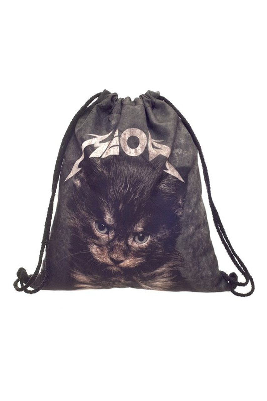 Moew Kitty Cat Graphic Print Drawstring Sack Backpack - 28 Styles