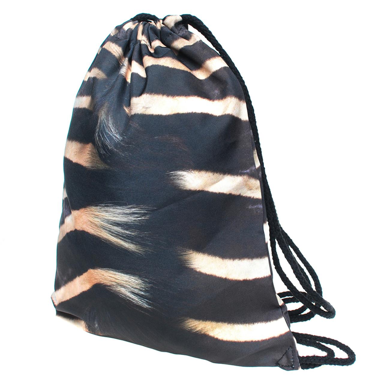 Zebra Graphic Print Drawstring Sack Backpack - 28 Styles
