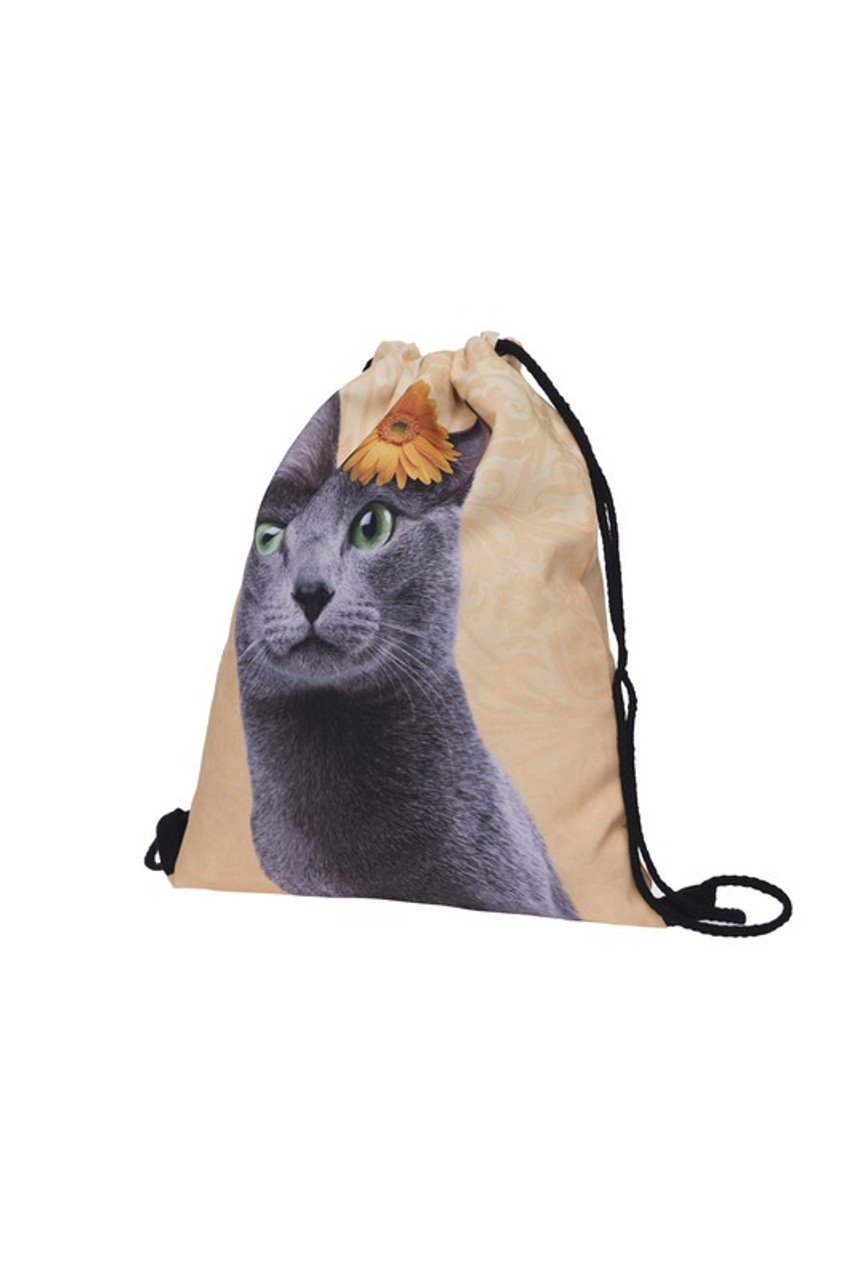 Yellow Flower Kitty Cat Graphic Print Drawstring Sack Backpack - 28 Styles