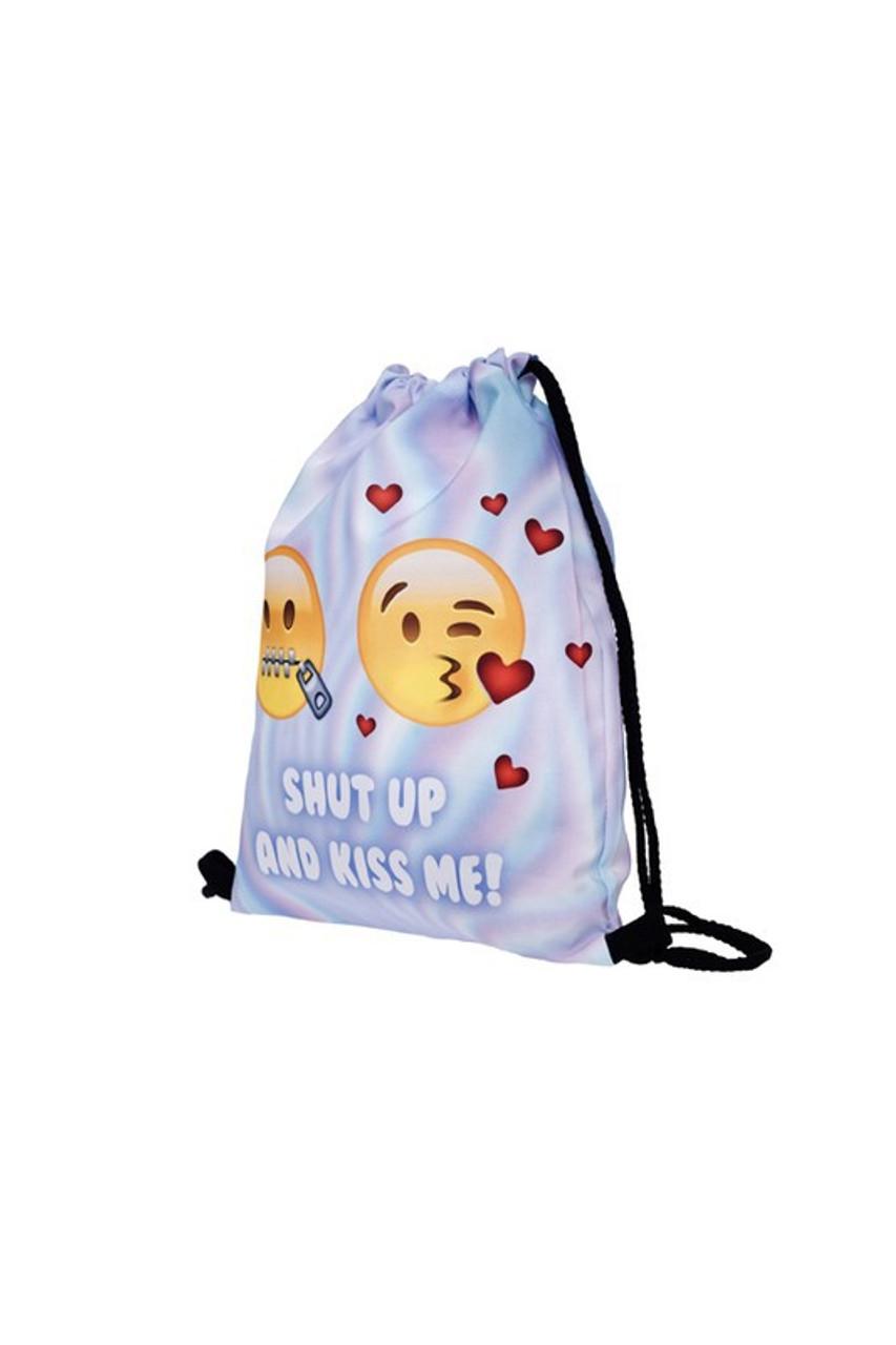 Shut Up and Kiss Me Emoji Graphic Print Drawstring Sack Backpack - 28 Styles