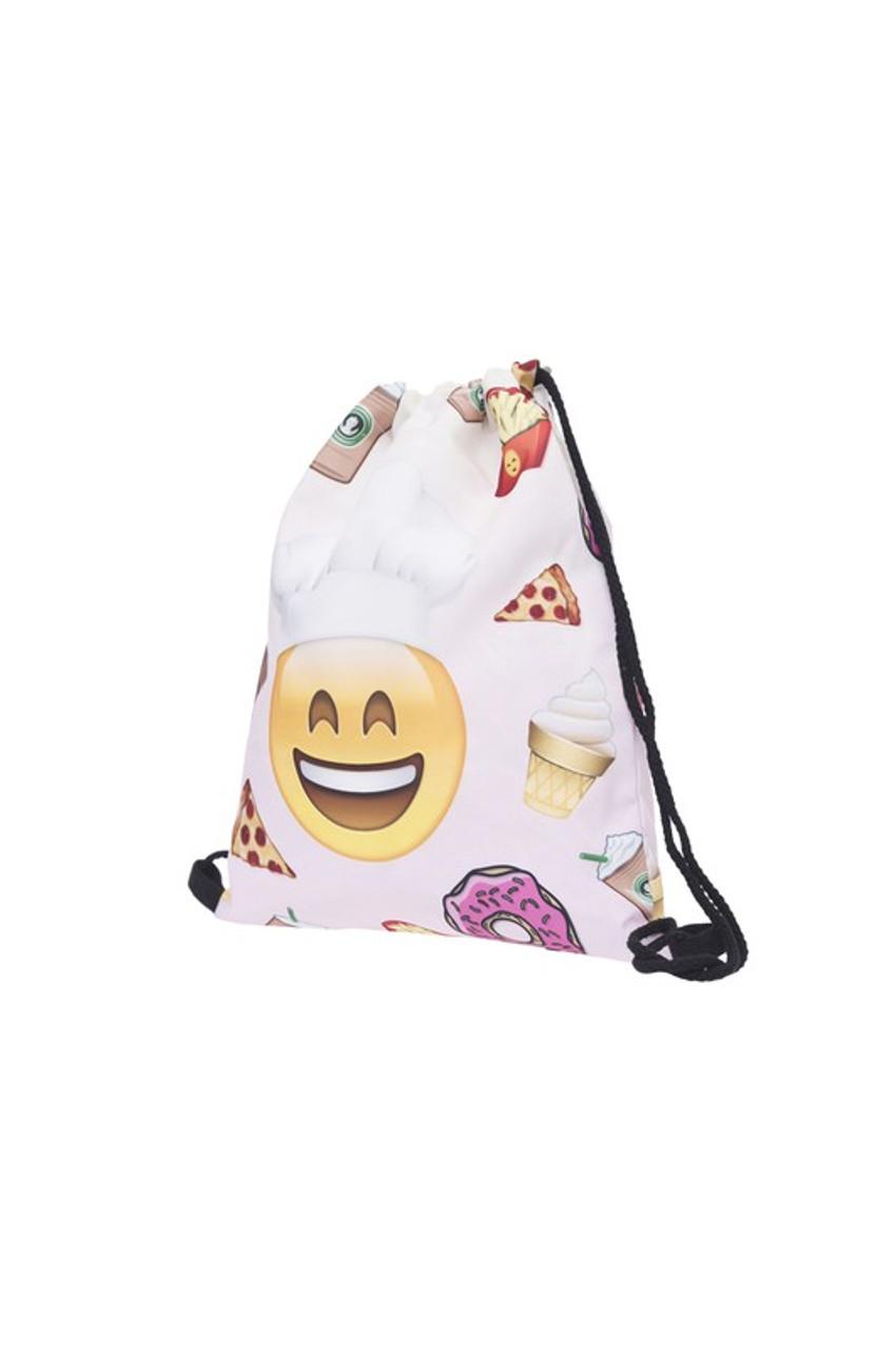 Emoji Smiling Chef Graphic Print Drawstring Sack Backpack - 28 Styles