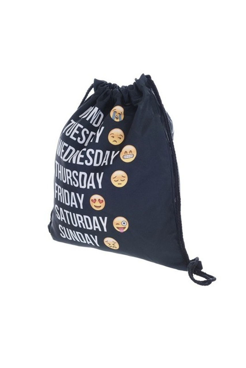 Emoji Week Days Graphic Print Drawstring Sack Backpack - 28 Styles