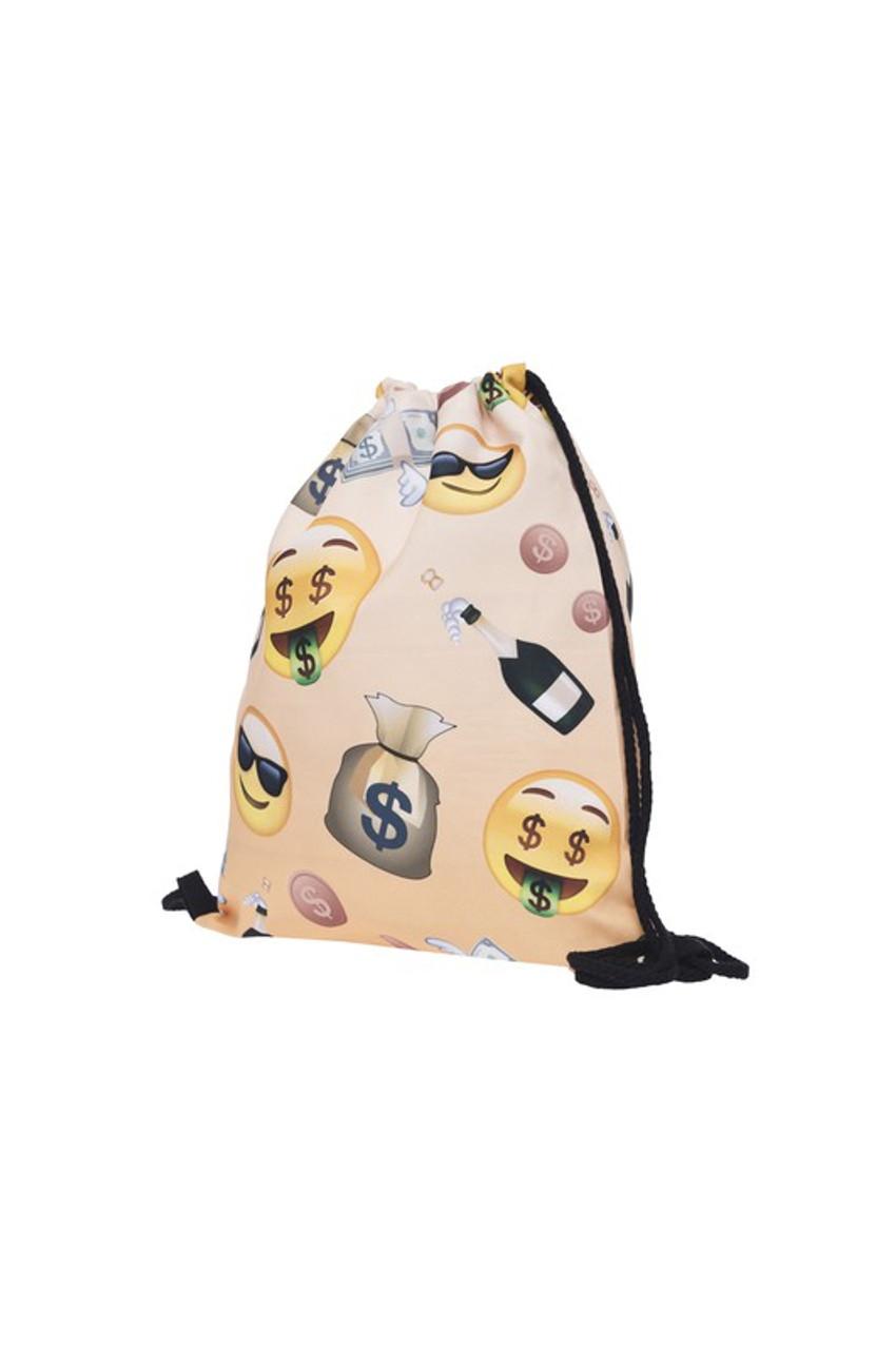 Emoji Money Graphic Print Drawstring Sack Backpack - 28 Styles