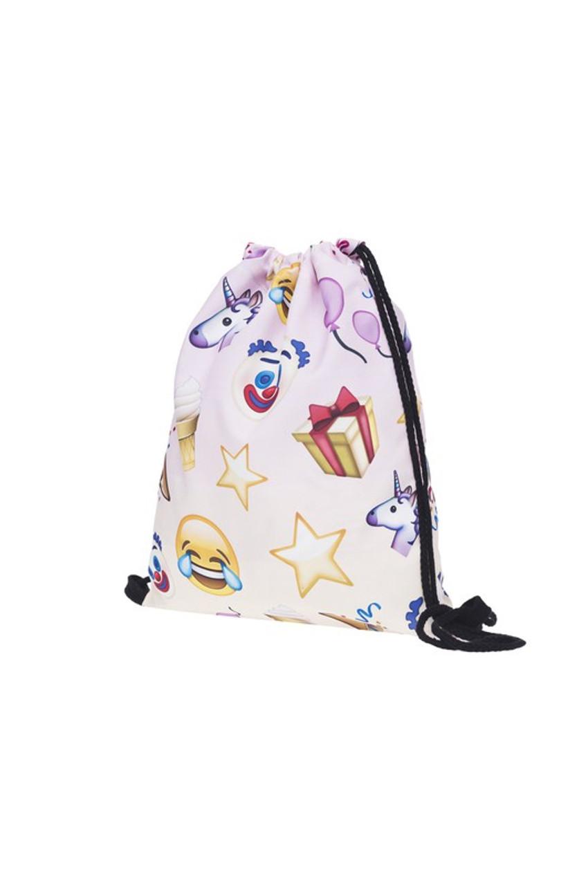 Emoji Birthday Graphic Print Drawstring Sack Backpack - 28 Styles