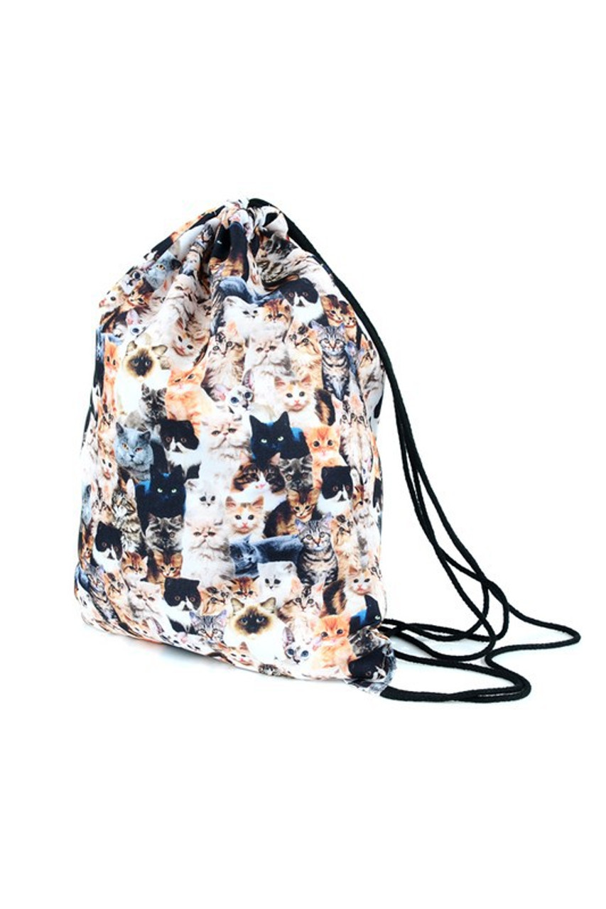 Cats - Small Print Graphic Print Drawstring Sack Backpack - 28 Styles