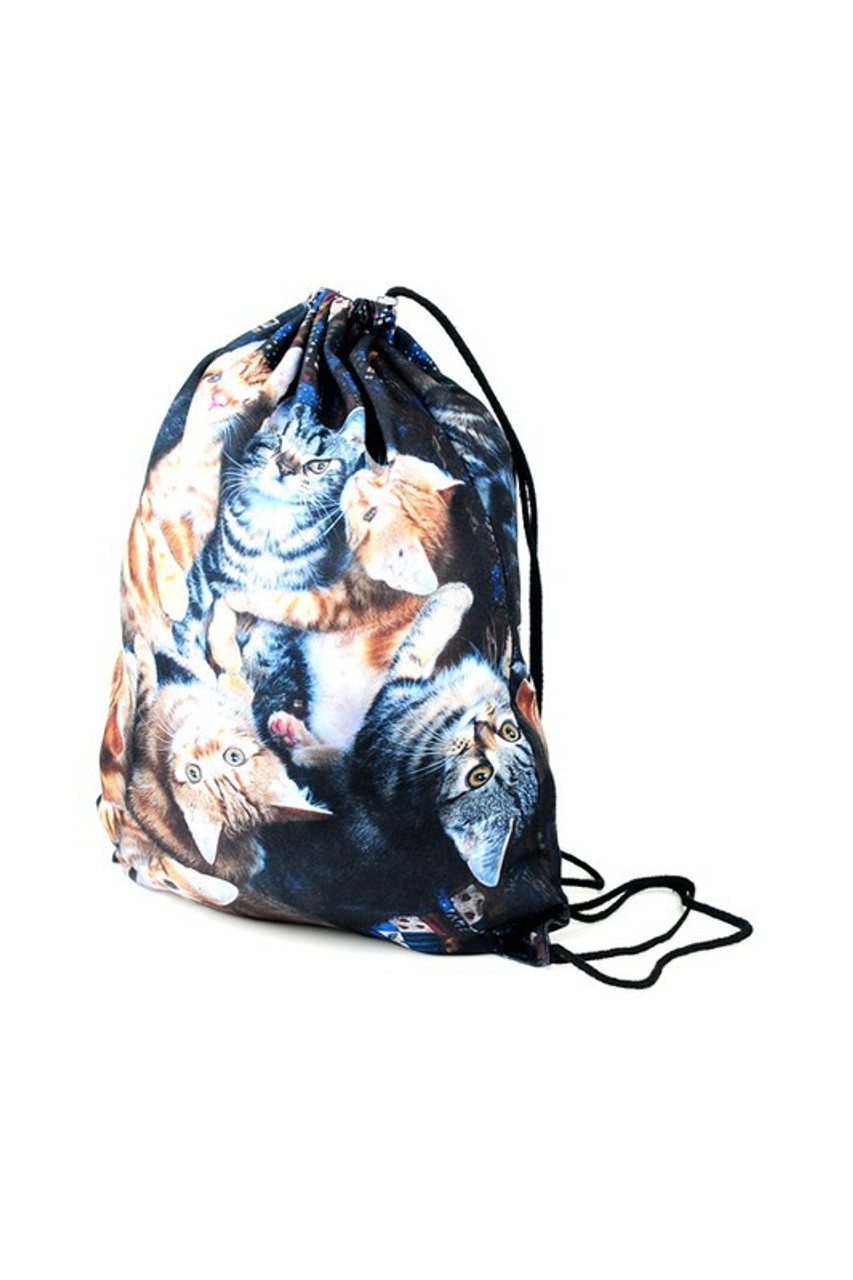 Cats - Large Print Graphic Print Drawstring Sack Backpack - 28 Styles