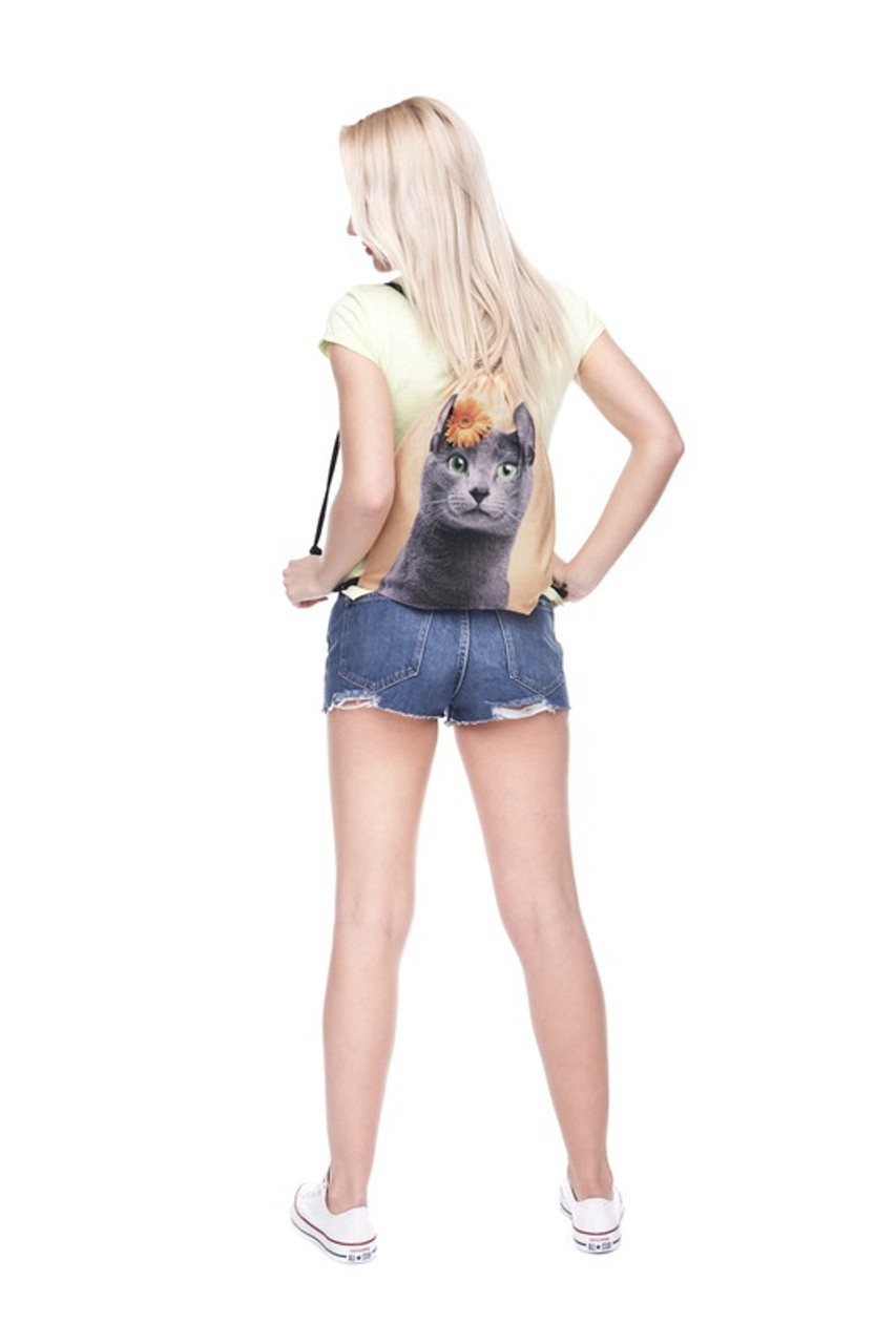 Yellow Charcoal Kitty Cat Graphic Print Drawstring Sack Backpack - 28 Styles