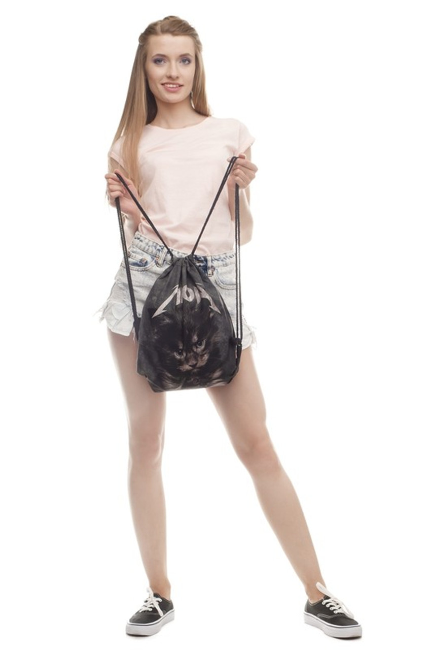 Meow Kitty Cat Graphic Print Drawstring Sack Backpack - 28 Styles