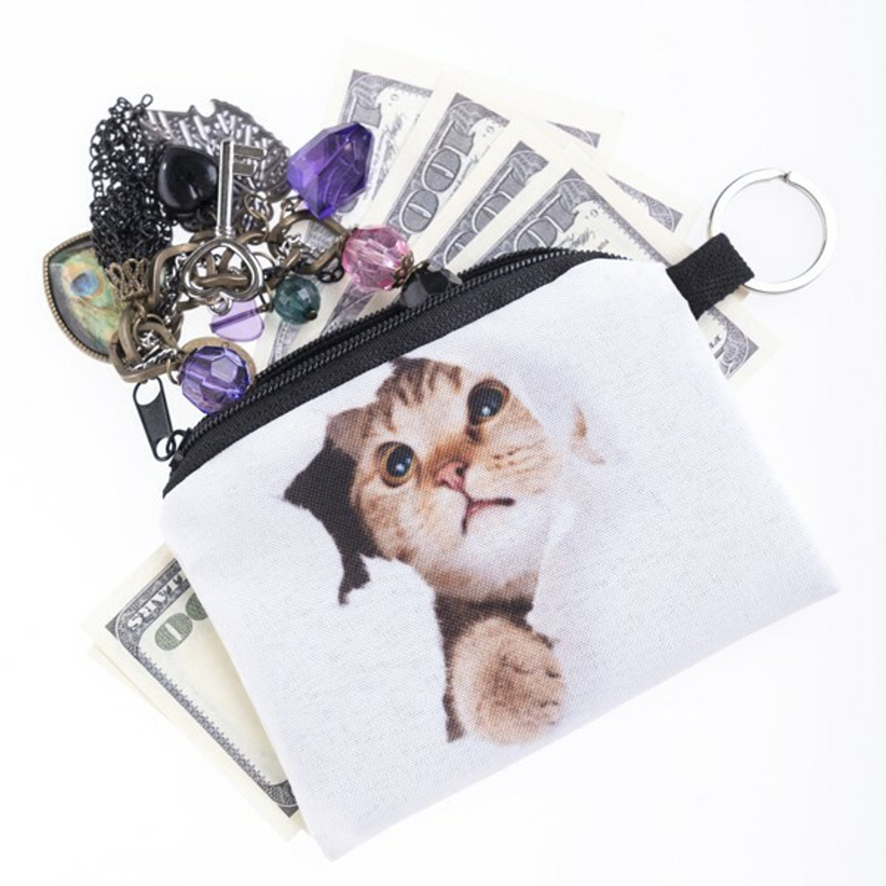 Unzipped Kitty Cat Surprise  Graphic Print Coin Purse - 18 Styles shown with cash and jewelry sticking out