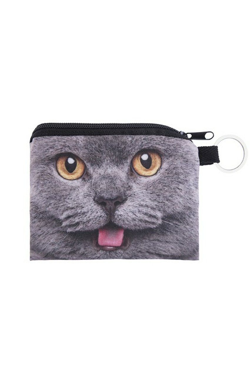 Charcoal Kitty Cat Graphic Print Coin Purse - 18 Styles
