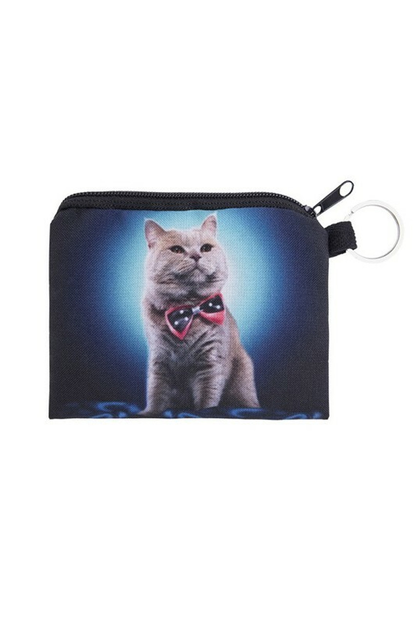 Bow Tie Kitty Cat Graphic Print Coin Purse - 18 Styles