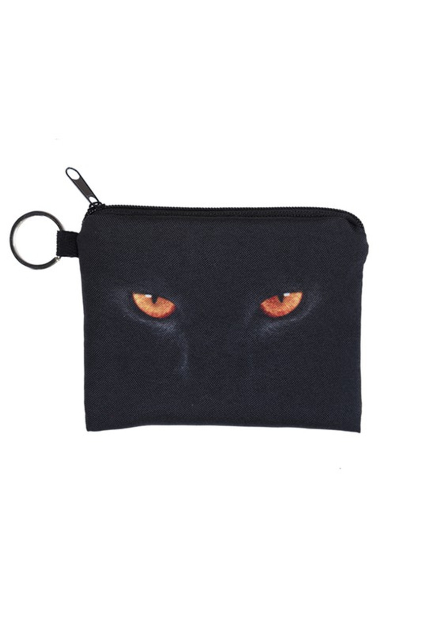 Black Cat Eyes Charcoal Kitty Cat Graphic Print Coin Purse - 18 Styles