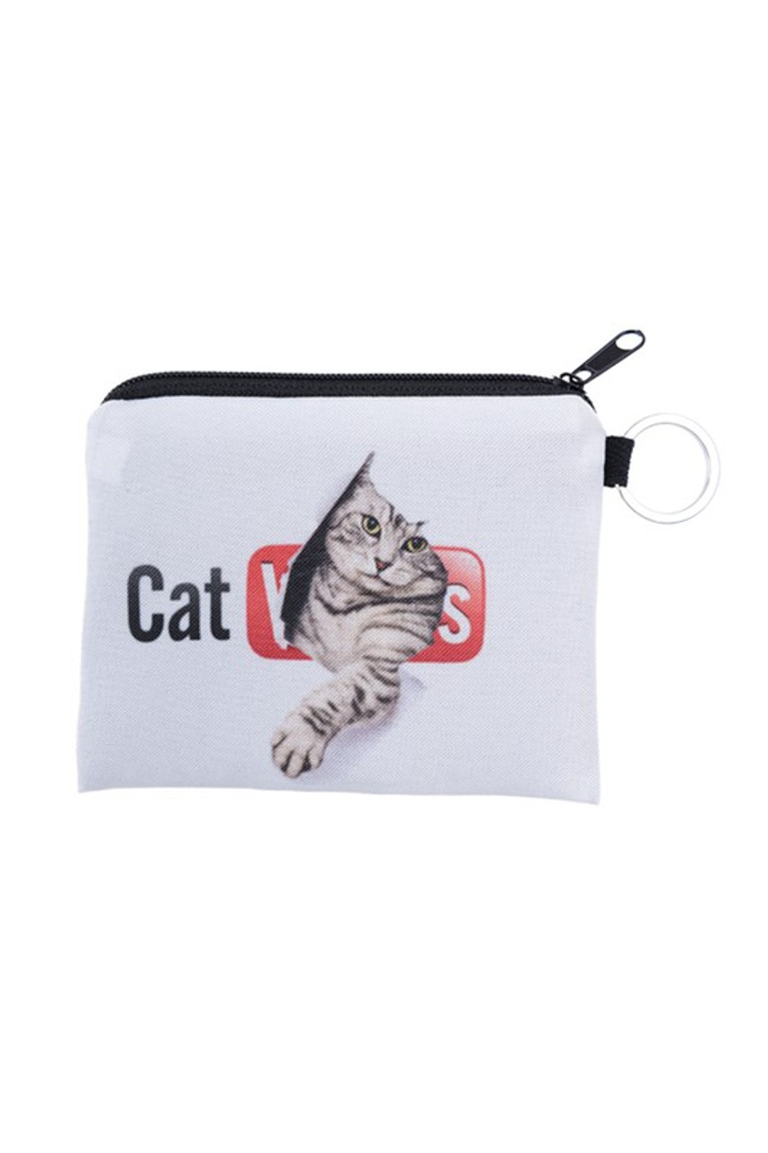 Kitty Cat Tube Graphic Print Coin Purse - 18 Styles