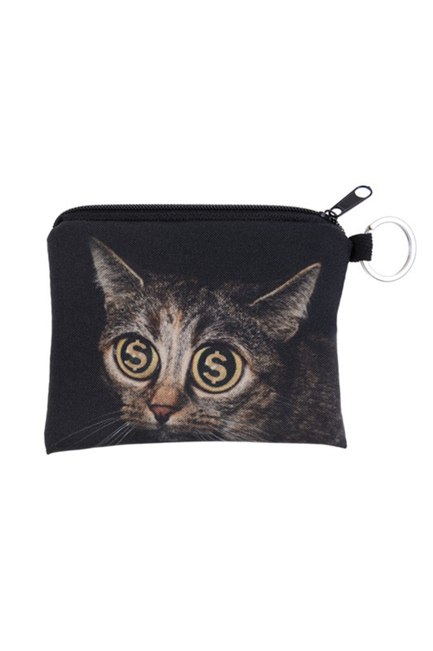 Dollar Sign Eyes Kitty Cat Graphic Print Coin Purse - 18 Styles