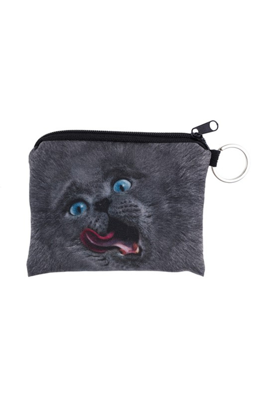 Licking Kitty Cat Graphic Print Coin Purse