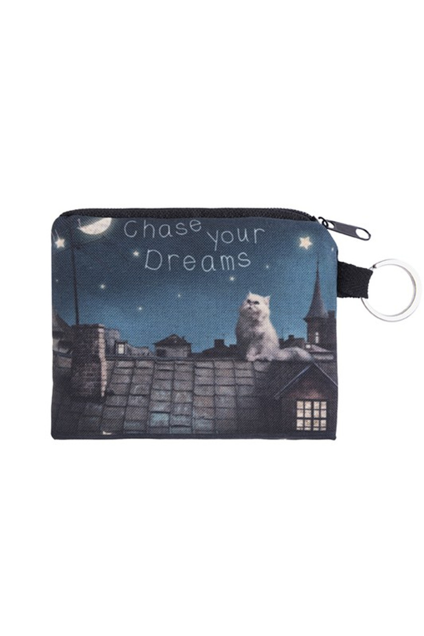 Chase Your Dreams Kitty Cat Graphic Print Coin Purse